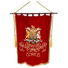 Superb Large 1937  Coronation  Processional Banner - King George VI