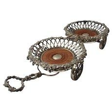 Superb Victorian Wine Coaster Cart - Elkington & Co 1857