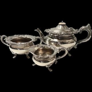 Victorian Art Nouveau Sterling Silver Tea Set