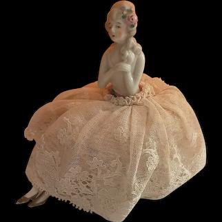 Porcelain Half Doll Pin Cushion  Circa 1920's