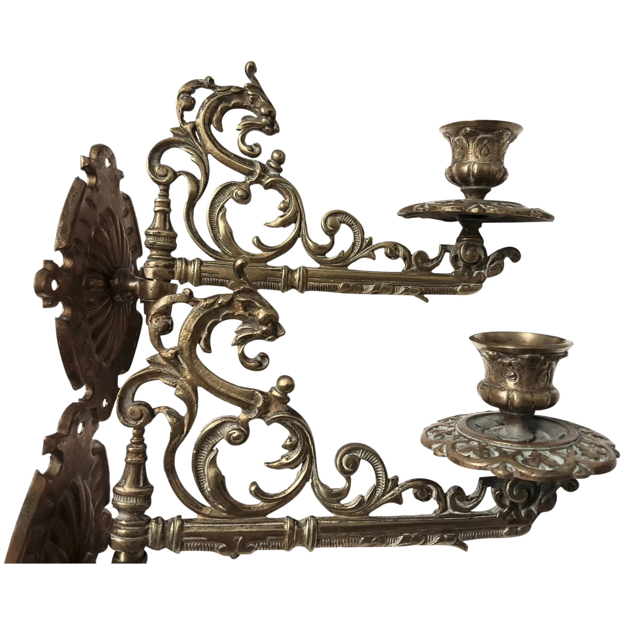 A Pair of Victorian SERPENT Piano Candle Sconces