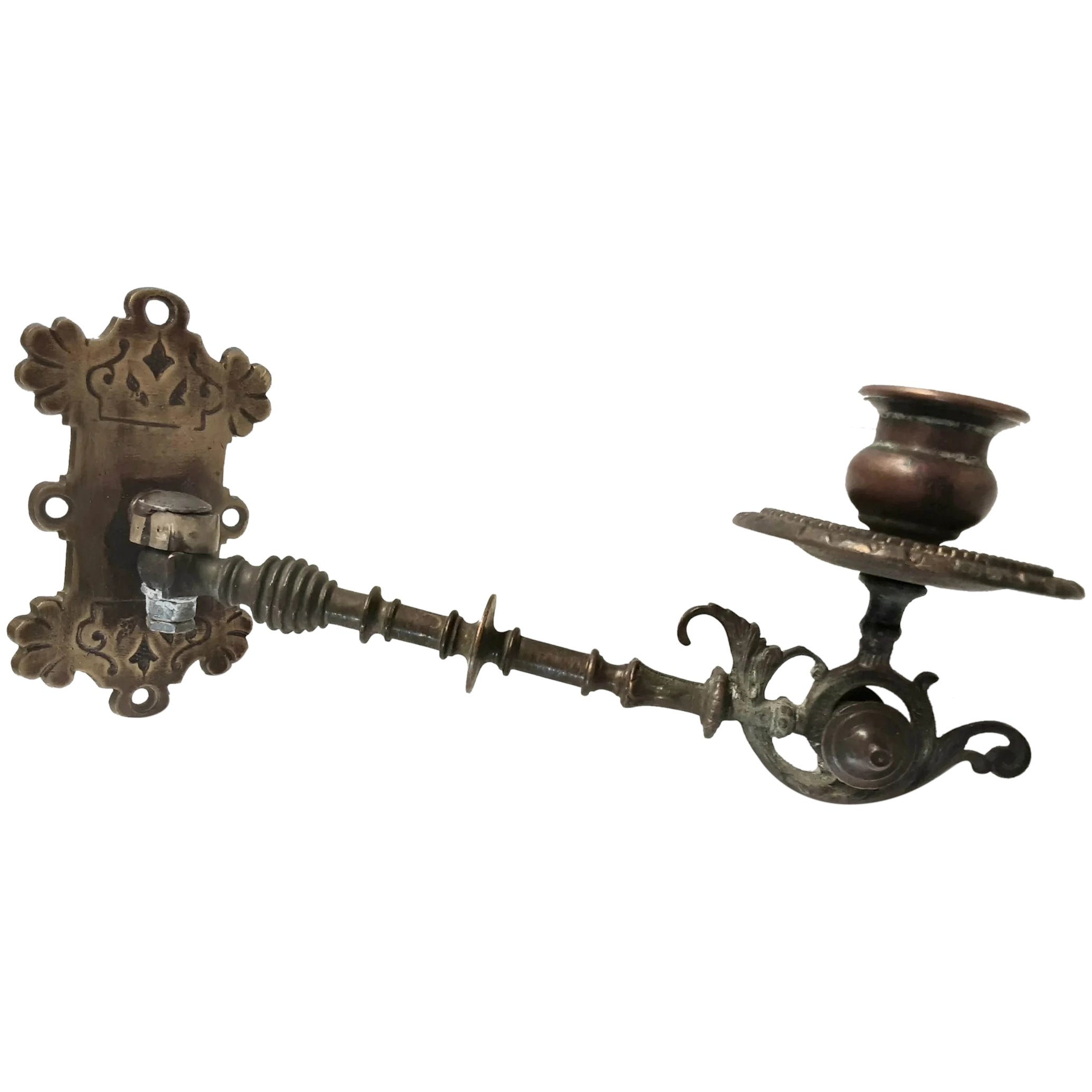 Victorian Gothic Brass Piano Candle Holder