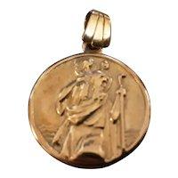 Superb Nine Carat Gold Saint Christopher Medallion Pendant