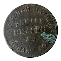 Tasmanian Circa 1855 TOKEN  for Andrew Mather, Draper, Hobart Town