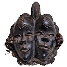 African IGBO TRIBE Terracotta 'Double Face' Mask - Circa Early to Mid 1900's