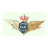 Vintage KLM Airlines Junior Skipper Badge