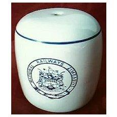 Zimbabwe National Railways Souvenir Porcelain Salt Pot.