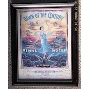 """Vintage Sheet Music Cover """"The Dawn of the Century Circa 1900"""