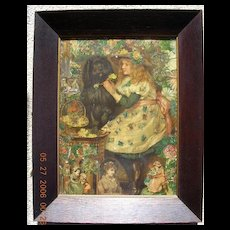 Rare Large Victorian Print & Montage in Oak Frame