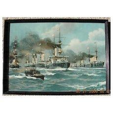 Edwardian Period Lithograph of The British Fleet Circa 1904