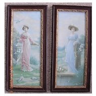 Pair of Victorian Lithographic Prints of Ladies