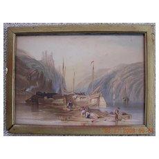 Victorian Period Baltic Boating Scene Lithograph