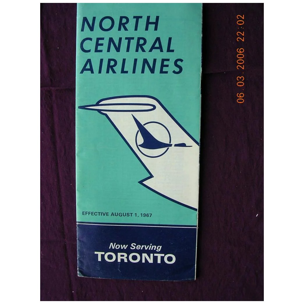 1967 North Central Airlines Route Booklet & Ticket Folder