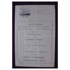 Vintage Cunard Liner RMS Saxonia 1917 Concert Program