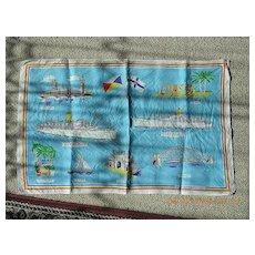 Vintage Shipping Souvenir P & O Line  Tea Towel