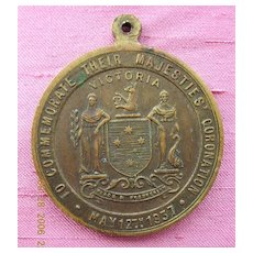 Australian 1937 Coronation Medallion King George V1 & Queen Elizabeth