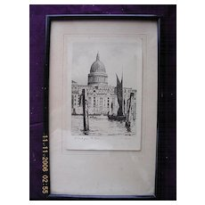 """Vintage Original Charcoal Drawing or Engraving of  """"St. Paul's From The River"""" By O. Fletcher"""