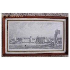 "Victorian Engraving ""The Royal Navy Hospital at Greenwich"""
