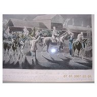 Victorian Large Hand Coloured Engraving ' The First Steeple Chase On Record'