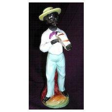 Vintage Negro Tambourine Player Hand Painted Porcelain Figurine