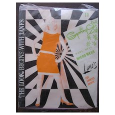 "Vintage 1960's ""SPRING GLO"" Nude Heel Micro Mesh Stockings"