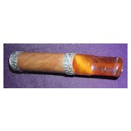 Victorian Era Amber & Sterling Silver Cigar Holder