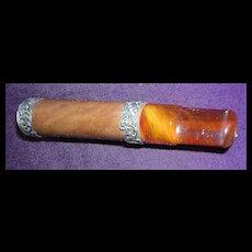 Victorian Era Amber & Sterling Silver Cigar Holder