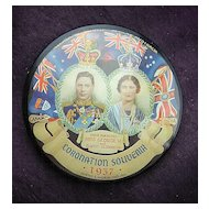 1937 Coronation George V1 &Elizabeth Pocket Mirror Souvenir