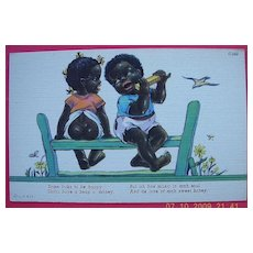 """Vintage Piccaninny Humorous Postcard """"Some Folks To Be Happy"""""""