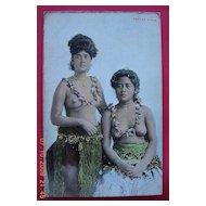 Vintage Hand Tinted Photo Postcard of Topless Samoan Girls