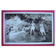 "Vintage Photo Postcard of Semi Naked Samoan Girls Bathing ""In Samoa"""