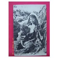 Vintage French Postcard of Breast Feeding Native Woman