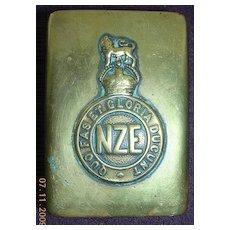 WW1 NZE Trench Art Brass Matchbox Holder