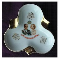 Lovely Prince Rainier & Princess Grace Limoges Souvenir Ashtray Circa 1956