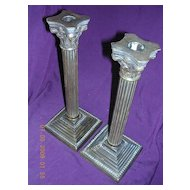 Victorian Corinthian Column Brass Candle Sticks Pair
