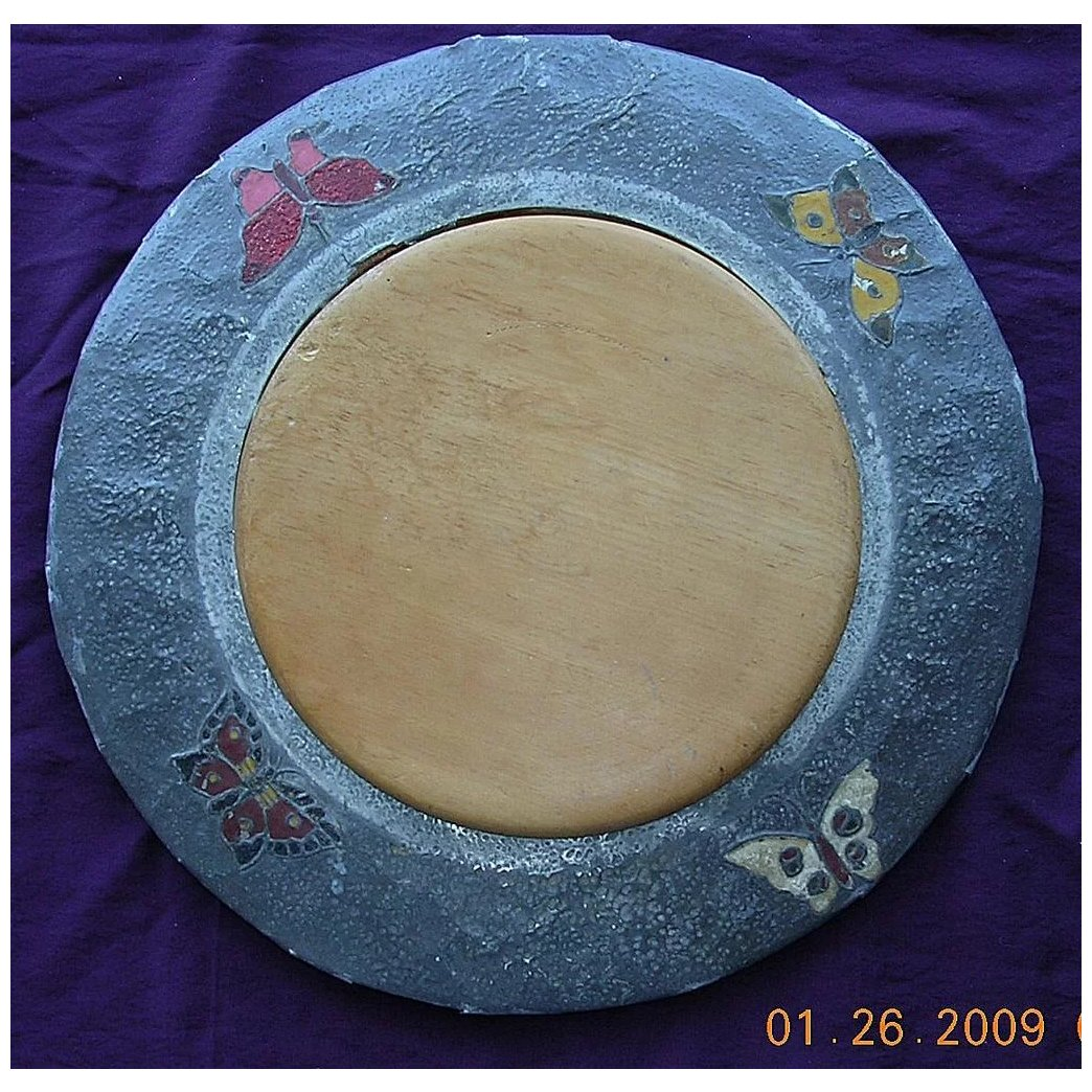 Vintage Bread Board With Lovely Decorative Inserts
