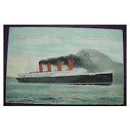 Cunard Line 'S.S. Mauretania' Vintage Postcard