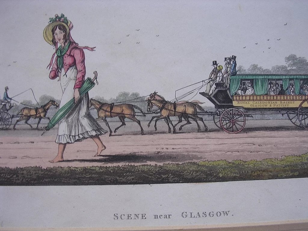 Georgian Engraving Scene Near Glasgow Circa 1825