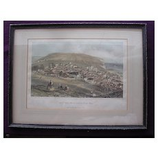 Stunning Georgian Period Engraving 'Hastings From The Castle Hill' Circa 1820