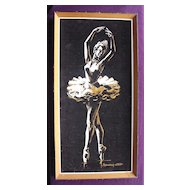 Vintage Ballerina Painting On Velvet