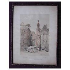 1838 French Engraving 'Place De La Croux Pierre'