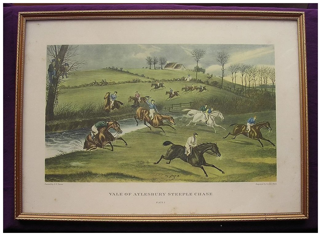 Vintage Print Vale Of Aylesbury Steeple Chase Antique