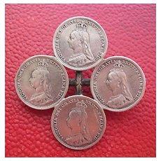 Queen Victoria 1891 'Three Pence' Silver Brooch