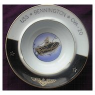 'U.S.S Bennington - CVA - 20' Vintage Souvenir Porcelain Ashtray
