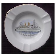 'S.S. Empress Of France' Vintage Souvenir Porcelain Ashtray