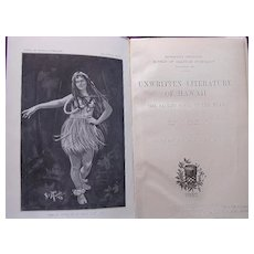 First Edition 1909 'Unwritten Literature of Hawaii' by Nathaniel Emerson