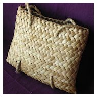 Vintage Pacific Islands Woven Flax KETE or Handbag