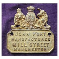 Victorian SAFE Name Plate for JOHN PORT of Manchester