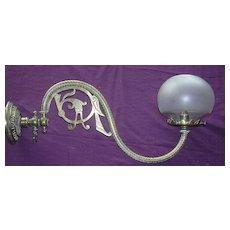 A  Beautiful Victorian Art Nouveau Brass Gas Lamp Wall Lamp