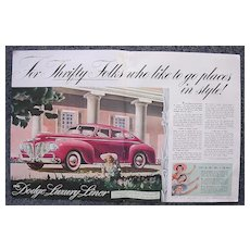 1940 DODGE LUXURY LINER Double Page Spread Advertisement